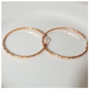New Rose Gold Tone Hoop Clip Earrings